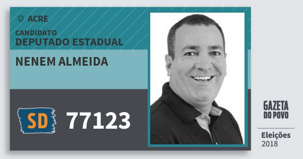 Santinho Nenem Almeida 77123 (SOLIDARIEDADE) Deputado Estadual | Acre | Eleições 2018