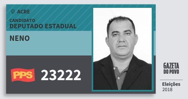 Santinho Neno 23222 (PPS) Deputado Estadual | Acre | Eleições 2018