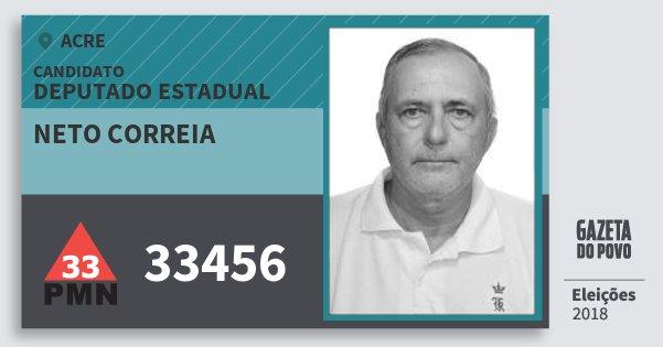 Santinho Neto Correia 33456 (PMN) Deputado Estadual | Acre | Eleições 2018
