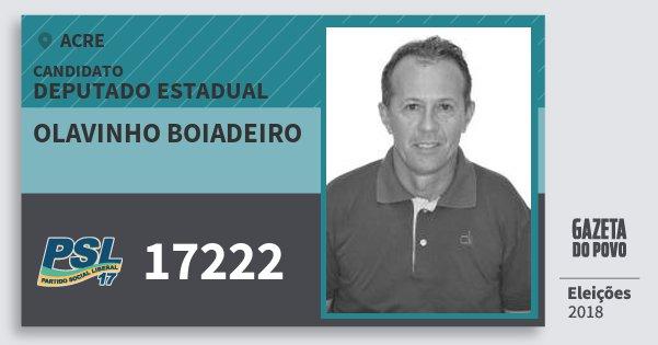 Santinho Olavinho Boiadeiro 17222 (PSL) Deputado Estadual | Acre | Eleições 2018