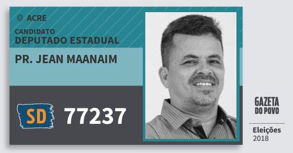 Santinho Pr. Jean Maanaim 77237 (SOLIDARIEDADE) Deputado Estadual | Acre | Eleições 2018
