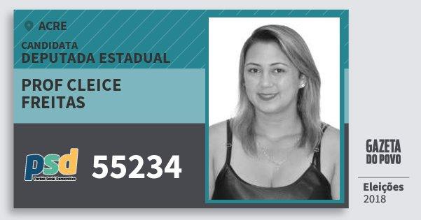 Santinho Prof Cleice Freitas 55234 (PSD) Deputada Estadual | Acre | Eleições 2018