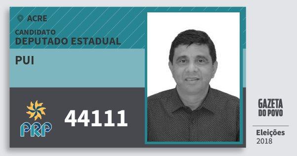 Santinho Pui 44111 (PRP) Deputado Estadual | Acre | Eleições 2018