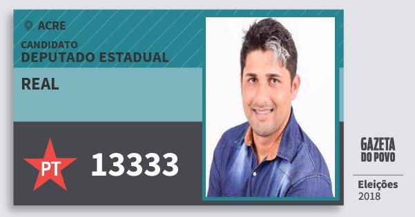Santinho Real 13333 (PT) Deputado Estadual | Acre | Eleições 2018