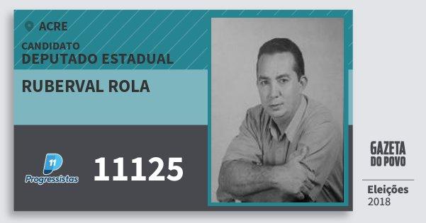Santinho Ruberval Rola 11125 (PP) Deputado Estadual | Acre | Eleições 2018