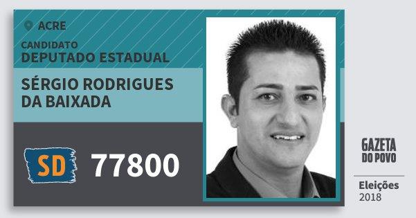 Santinho Sérgio Rodrigues da Baixada 77800 (SOLIDARIEDADE) Deputado Estadual | Acre | Eleições 2018