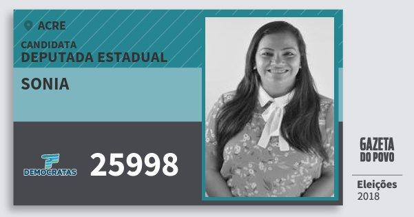 Santinho Sonia 25998 (DEM) Deputada Estadual | Acre | Eleições 2018