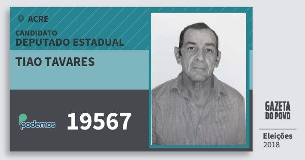 Santinho Tiao Tavares 19567 (PODE) Deputado Estadual | Acre | Eleições 2018