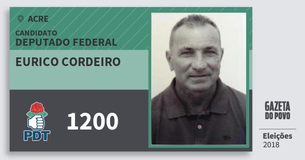 Santinho Eurico Cordeiro 1200 (PDT) Deputado Federal | Acre | Eleições 2018