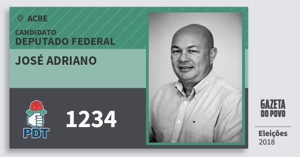 Santinho José Adriano 1234 (PDT) Deputado Federal | Acre | Eleições 2018