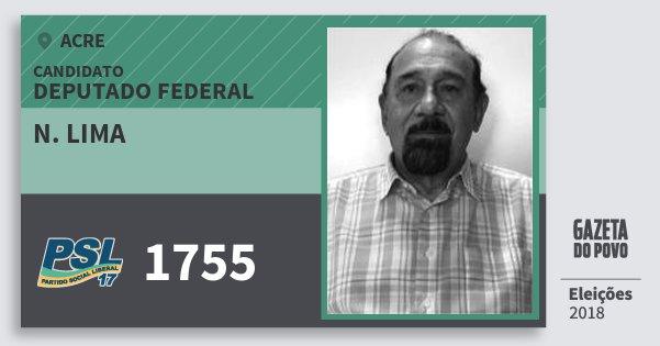 Santinho N. Lima 1755 (PSL) Deputado Federal | Acre | Eleições 2018