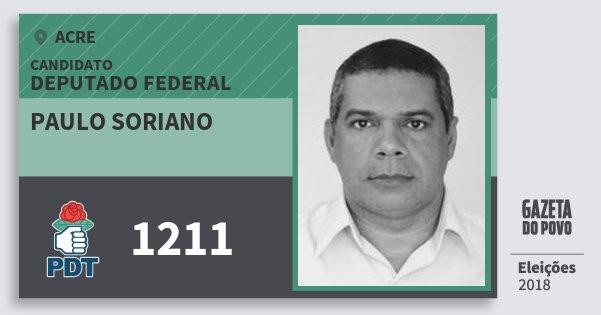 Santinho Paulo Soriano 1211 (PDT) Deputado Federal | Acre | Eleições 2018