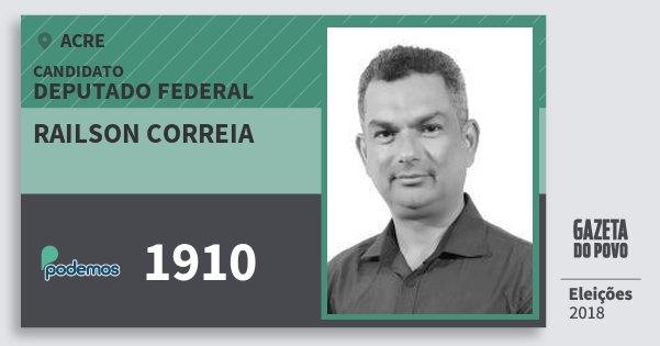 Santinho Railson Correia 1910 (PODE) Deputado Federal | Acre | Eleições 2018