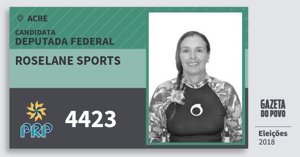 Santinho Roselane Sports 4423 (PRP) Deputada Federal | Acre | Eleições 2018