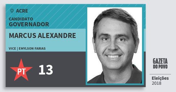 Santinho Marcus Alexandre 13 (PT) Governador | Acre | Eleições 2018