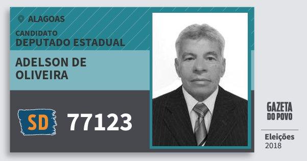 Santinho Adelson de Oliveira 77123 (SOLIDARIEDADE) Deputado Estadual | Alagoas | Eleições 2018