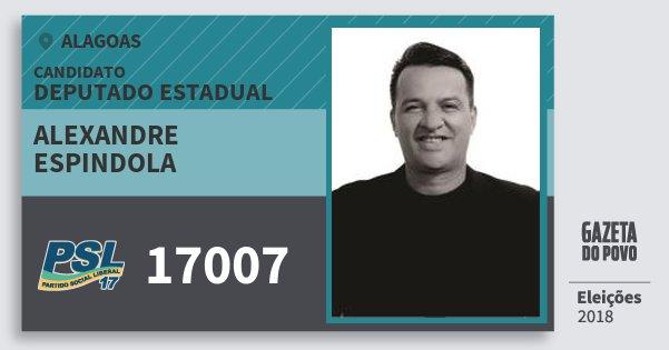 Santinho Alexandre Espindola 17007 (PSL) Deputado Estadual | Alagoas | Eleições 2018