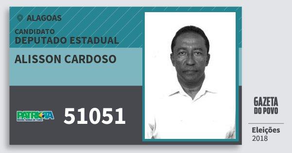 Santinho Alisson Cardoso 51051 (PATRI) Deputado Estadual | Alagoas | Eleições 2018