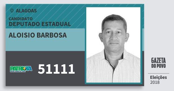 Santinho Aloisio Barbosa 51111 (PATRI) Deputado Estadual   Alagoas   Eleições 2018
