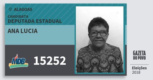 Santinho Ana Lucia 15252 (MDB) Deputada Estadual | Alagoas | Eleições 2018