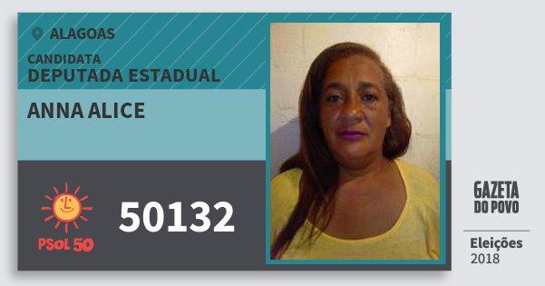 Santinho Anna Alice 50132 (PSOL) Deputada Estadual | Alagoas | Eleições 2018