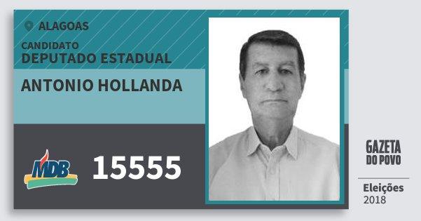 Santinho Antonio Hollanda 15555 (MDB) Deputado Estadual | Alagoas | Eleições 2018