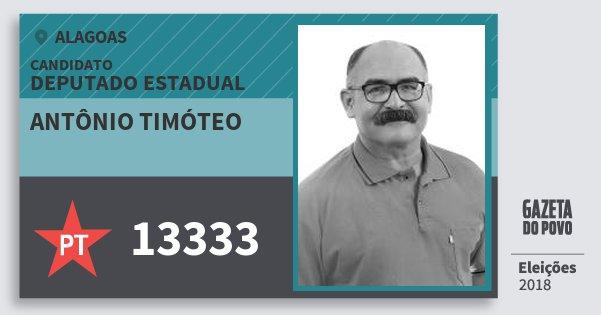 Santinho Antônio Timóteo 13333 (PT) Deputado Estadual | Alagoas | Eleições 2018