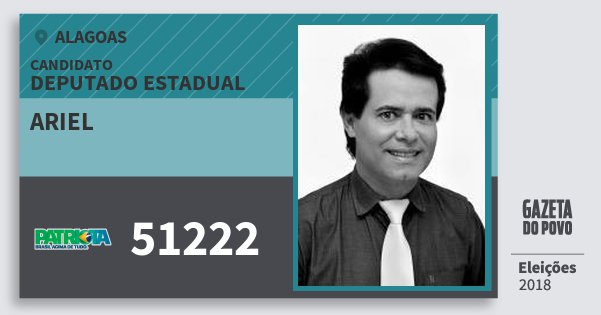 Santinho Ariel 51222 (PATRI) Deputado Estadual | Alagoas | Eleições 2018