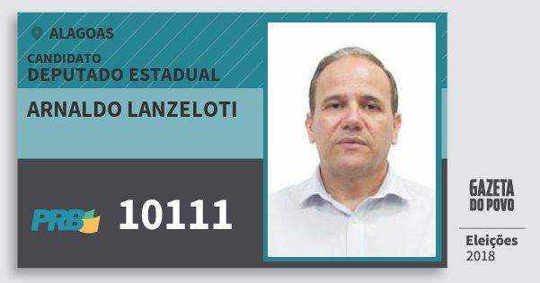 Santinho Arnaldo Lanzeloti 10111 (PRB) Deputado Estadual | Alagoas | Eleições 2018