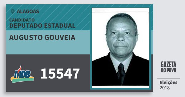 Santinho Augusto Gouveia 15547 (MDB) Deputado Estadual   Alagoas   Eleições 2018