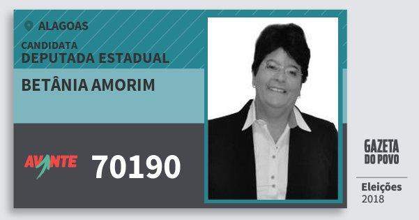 Santinho Betânia Amorim 70190 (AVANTE) Deputada Estadual | Alagoas | Eleições 2018