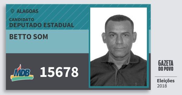 Santinho Betto Som 15678 (MDB) Deputado Estadual | Alagoas | Eleições 2018