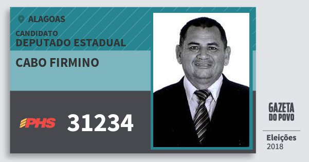 Santinho Cabo Firmino 31234 (PHS) Deputado Estadual | Alagoas | Eleições 2018