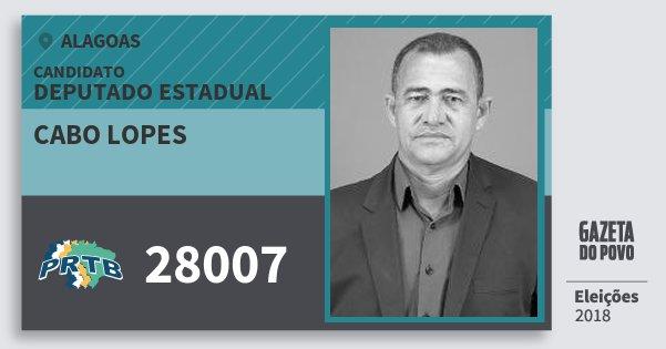 Santinho Cabo Lopes 28007 (PRTB) Deputado Estadual | Alagoas | Eleições 2018