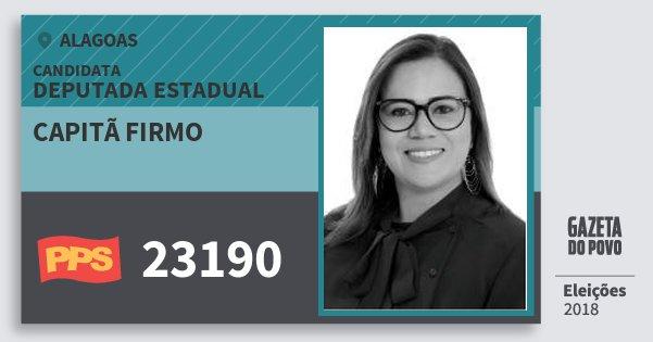 Santinho Capitã Firmo 23190 (PPS) Deputada Estadual | Alagoas | Eleições 2018