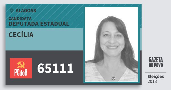Santinho Cecília 65111 (PC do B) Deputada Estadual | Alagoas | Eleições 2018