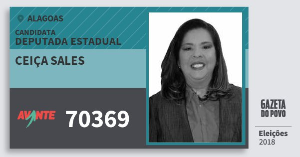 Santinho Ceiça Sales 70369 (AVANTE) Deputada Estadual | Alagoas | Eleições 2018