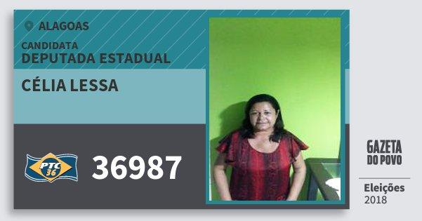 Santinho Célia Lessa 36987 (PTC) Deputada Estadual   Alagoas   Eleições 2018