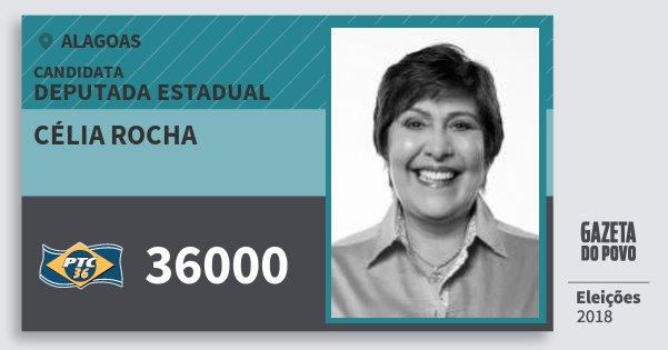 Santinho Célia Rocha 36000 (PTC) Deputada Estadual | Alagoas | Eleições 2018