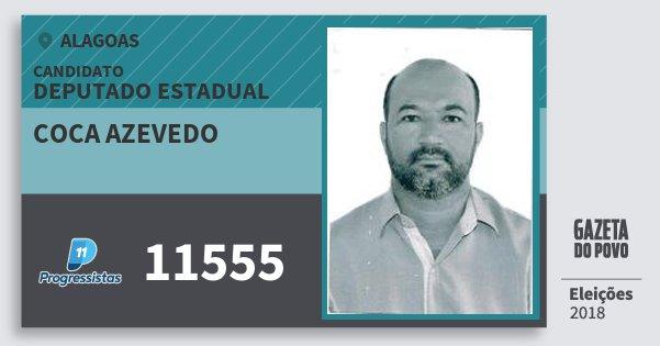 Santinho Coca Azevedo 11555 (PP) Deputado Estadual | Alagoas | Eleições 2018