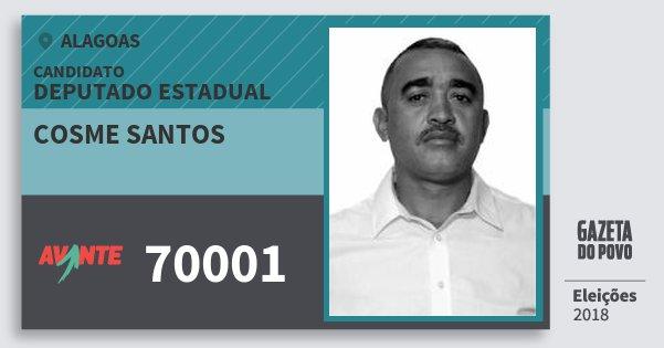 Santinho Cosme Santos 70001 (AVANTE) Deputado Estadual | Alagoas | Eleições 2018