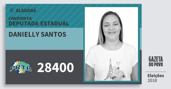 Santinho Danielly Santos 28400 (PRTB) Deputada Estadual | Alagoas | Eleições 2018