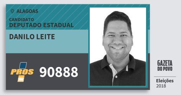 Santinho Danilo Leite 90888 (PROS) Deputado Estadual | Alagoas | Eleições 2018