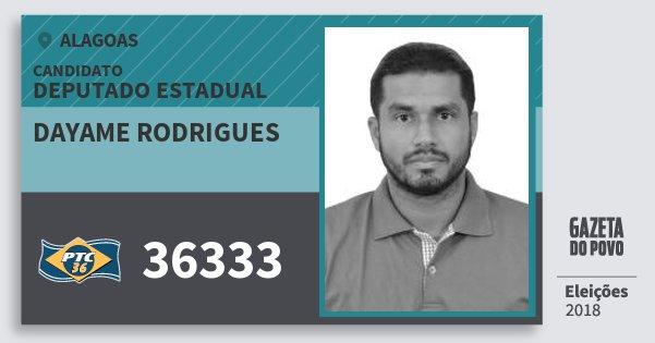 Santinho Dayame Rodrigues 36333 (PTC) Deputado Estadual | Alagoas | Eleições 2018