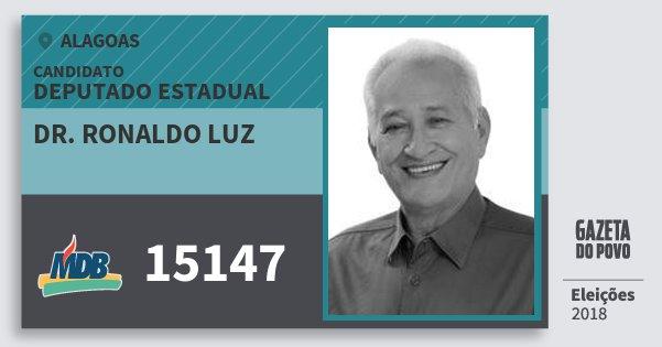 Santinho Dr. Ronaldo Luz 15147 (MDB) Deputado Estadual | Alagoas | Eleições 2018