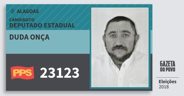 Santinho Duda Onça 23123 (PPS) Deputado Estadual | Alagoas | Eleições 2018