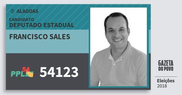 Santinho Francisco Sales 54123 (PPL) Deputado Estadual | Alagoas | Eleições 2018