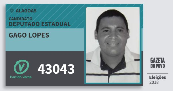 Santinho Gago Lopes 43043 (PV) Deputado Estadual | Alagoas | Eleições 2018