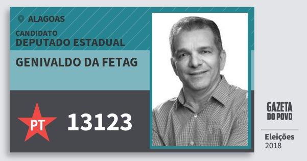 Santinho Genivaldo da Fetag 13123 (PT) Deputado Estadual | Alagoas | Eleições 2018
