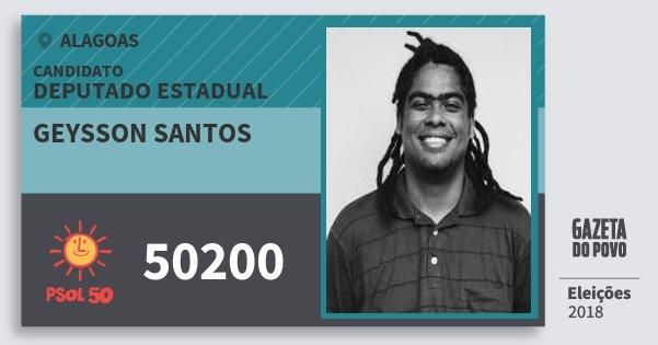 Santinho Geysson Santos 50200 (PSOL) Deputado Estadual   Alagoas   Eleições 2018
